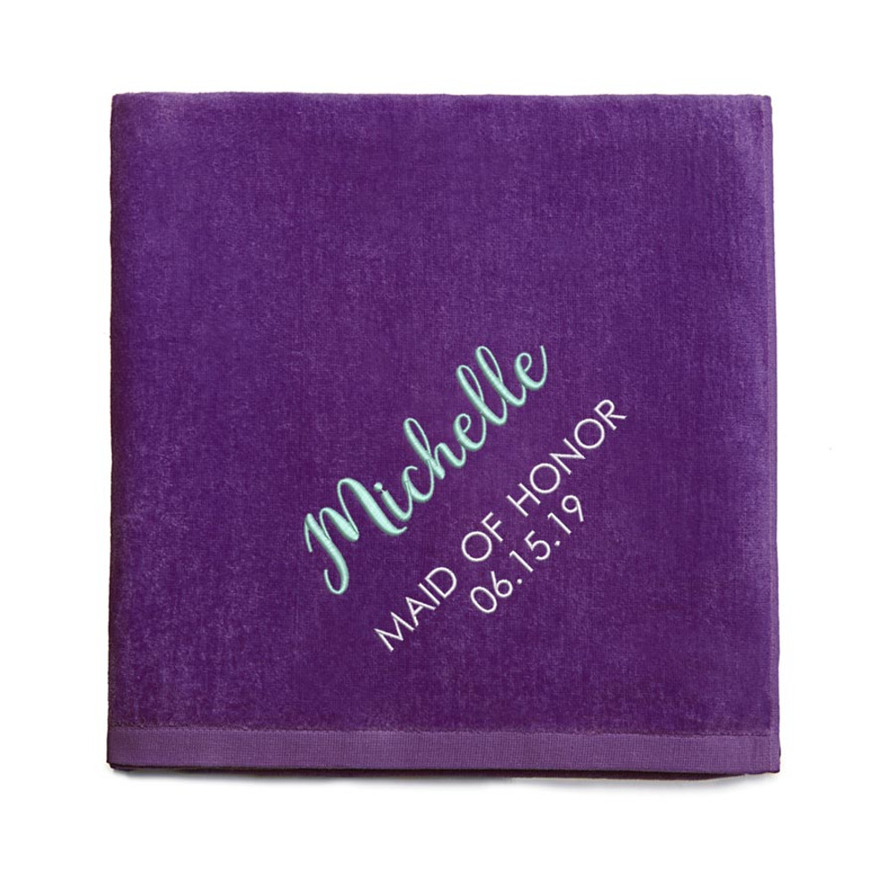 Personalized Bridesmaid embroidered Purple Beach Towel