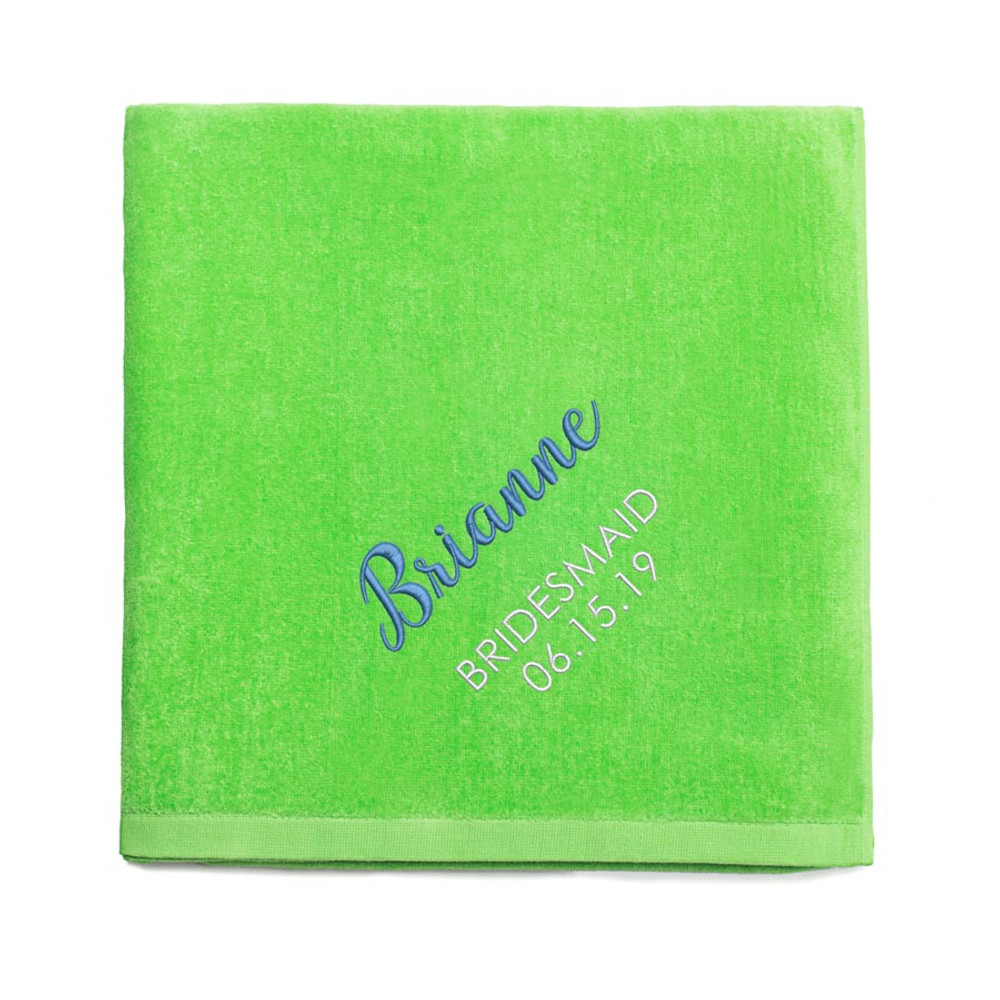 Personalized Bridesmaid embroidered Lime Green Beach Towel