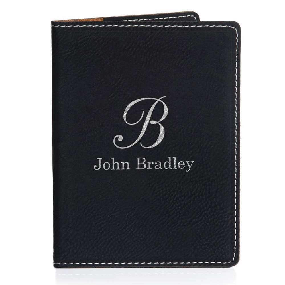 Personalized Black Passport Cover - Script Initial