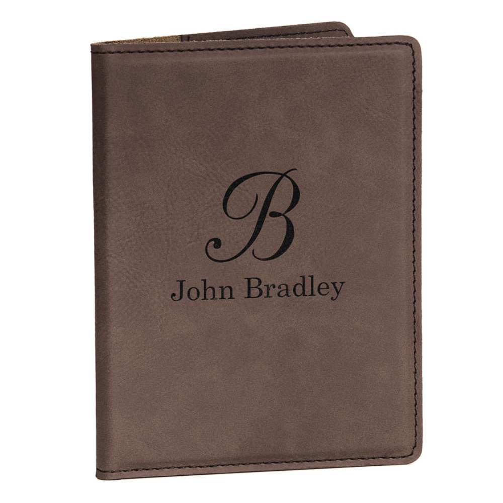 Personalized Dark Brown Passport Cover - Script Initial