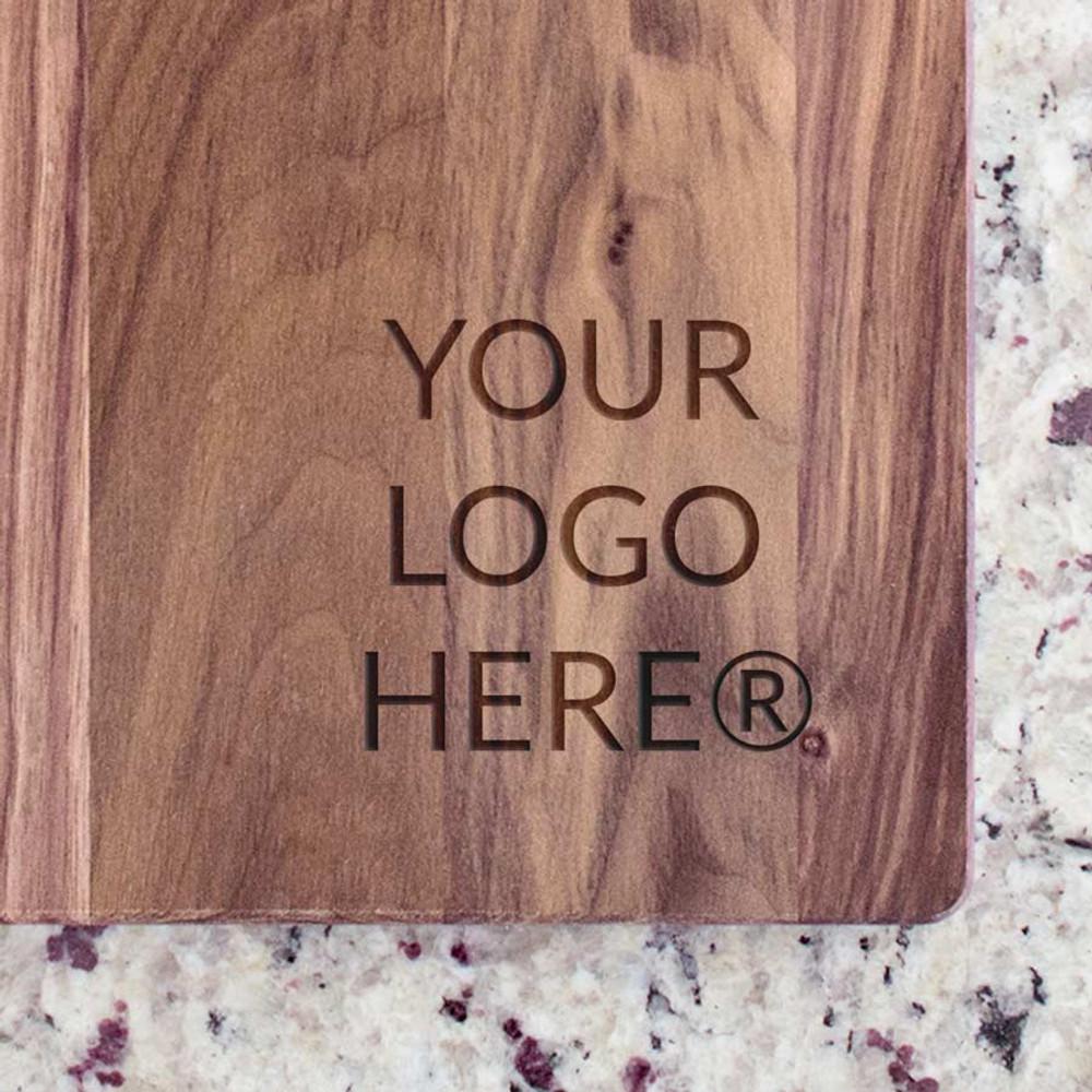 Custom engraved walnut cutting board with logo