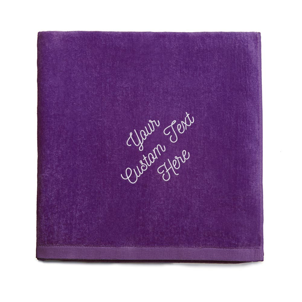 Create your own embroidered purple beach towel