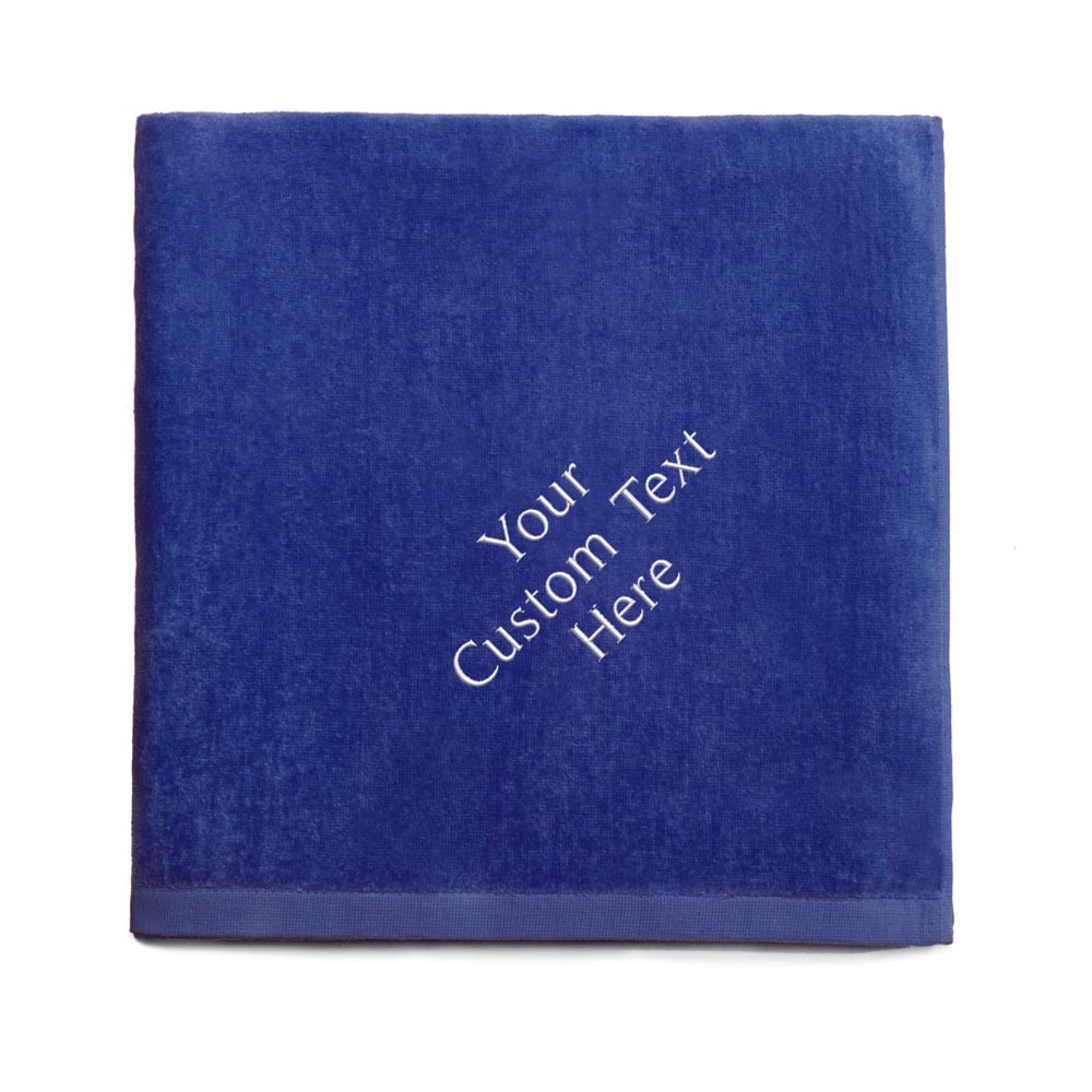 Create your own embroidered royal blue beach towel