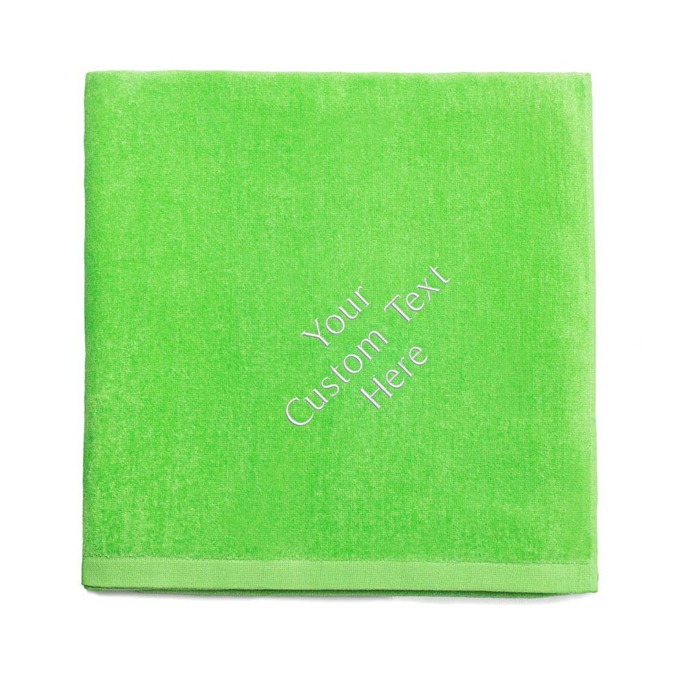 Create your own embroidered lime green beach towel