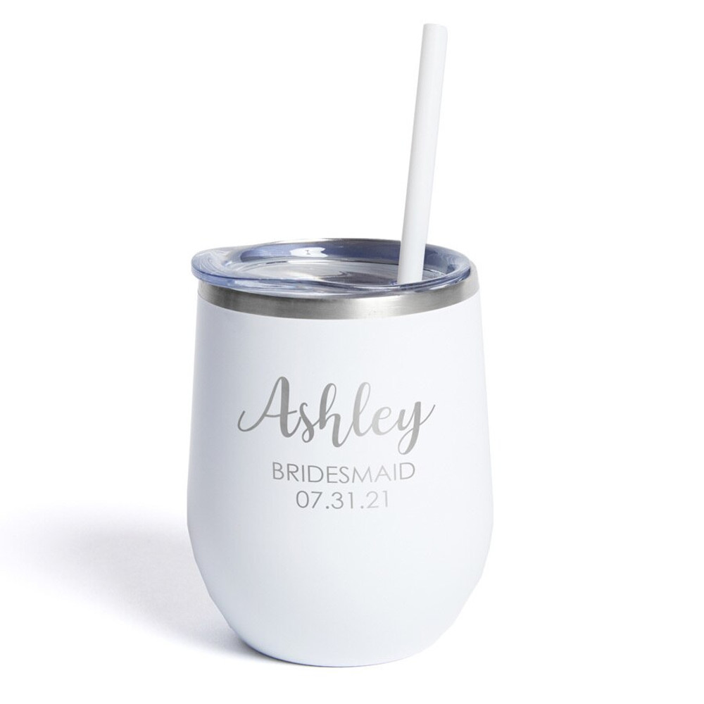 Engraved Bridesmaid Stemless Wine Tumbler with Straw
