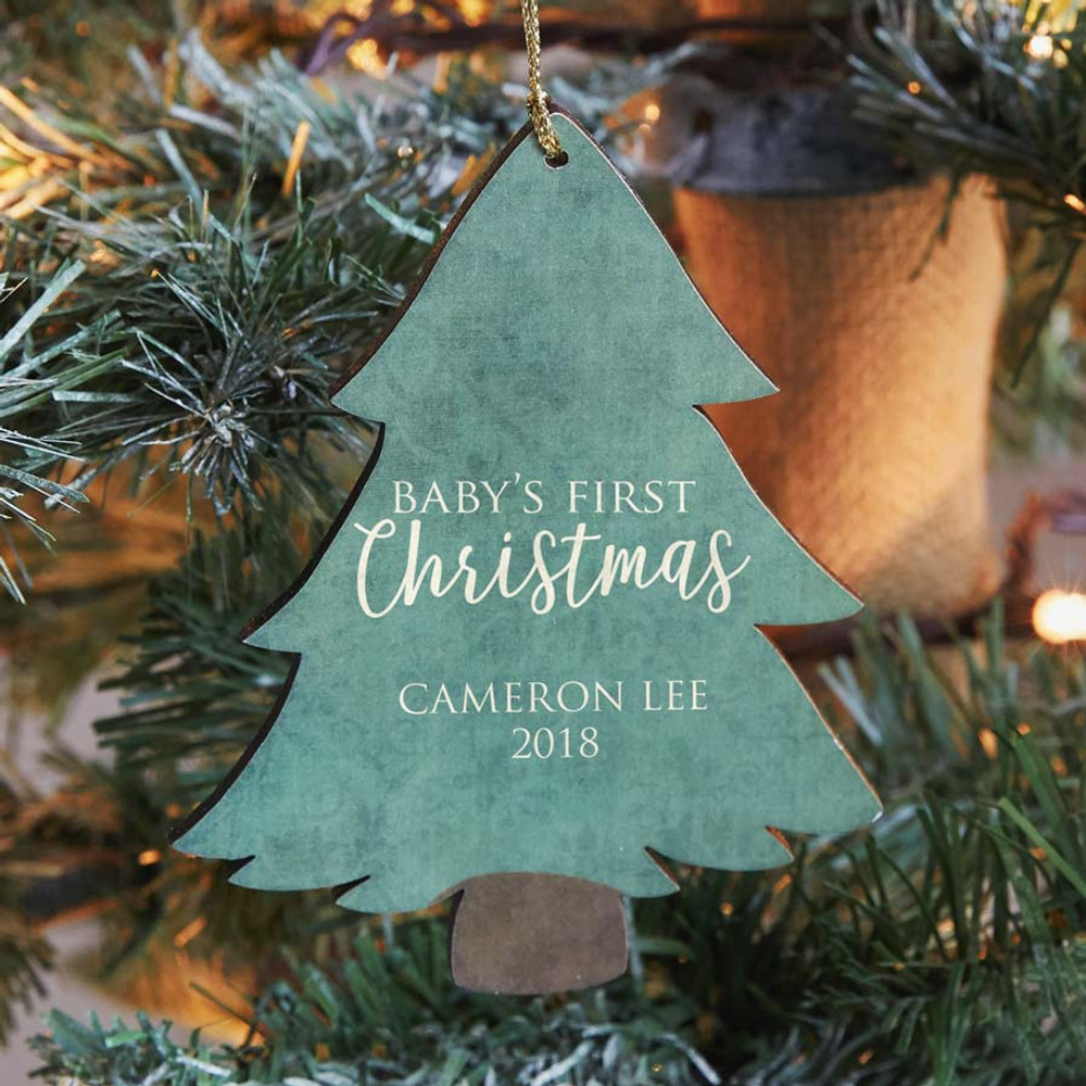 Personalized Baby's 1st Christmas Ornament - Tree