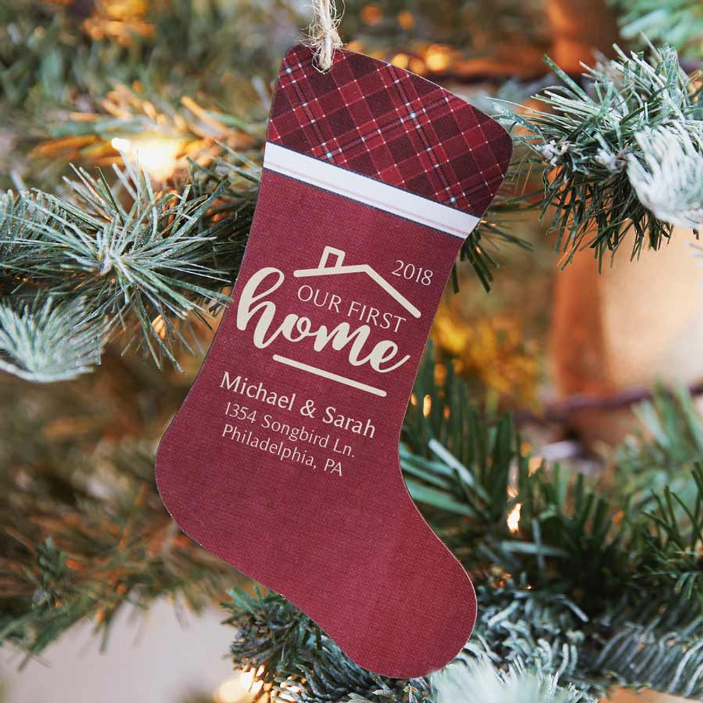Our First Home Christmas Ornament.Personalized First Home Ornament Stocking