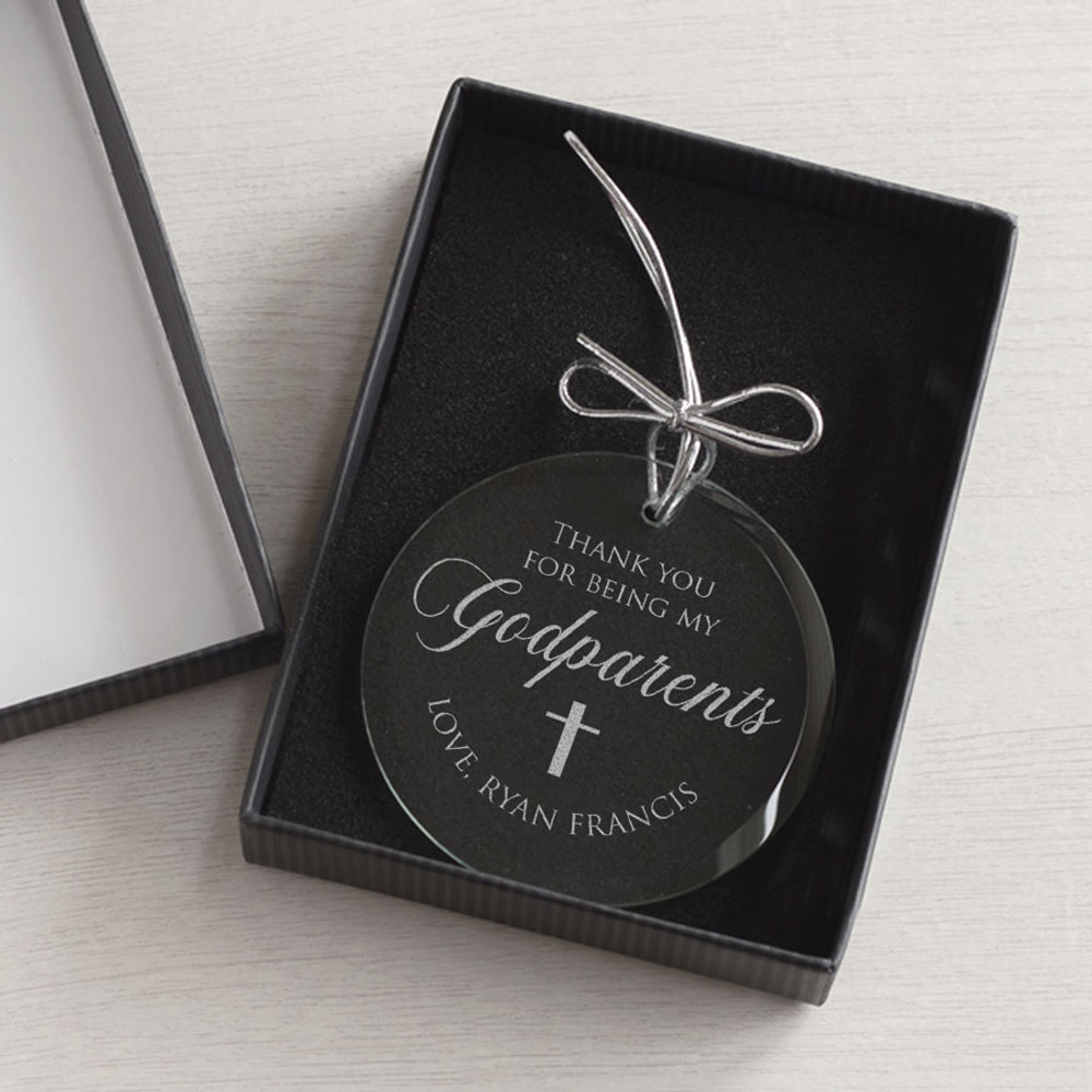 christmas ornament for godmother or godfather gift box