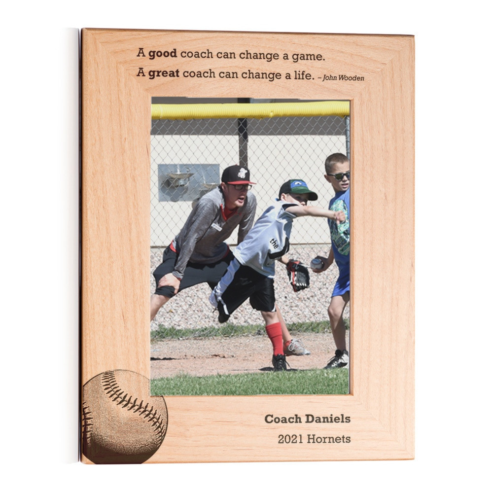 Personalized Baseball Coach Picture Frame Portrait