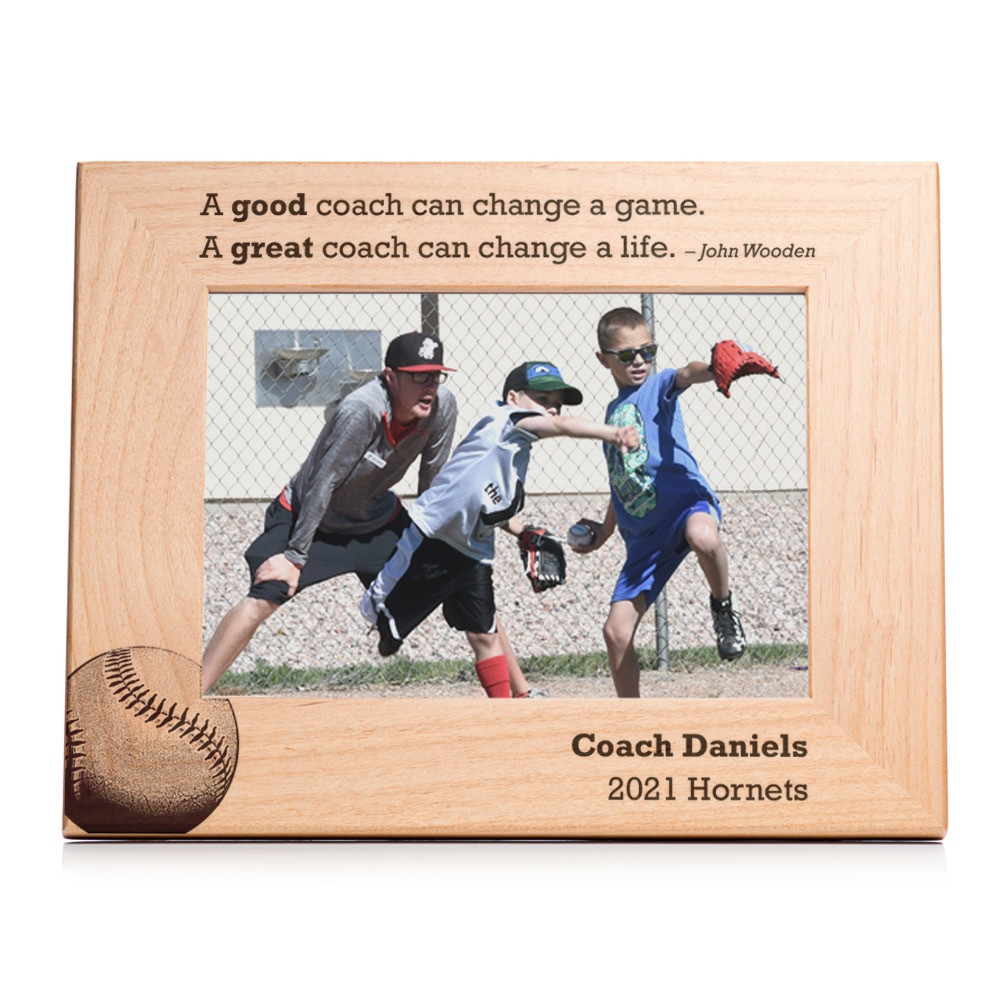 Personalized Baseball Coach Picture Frame Landscape