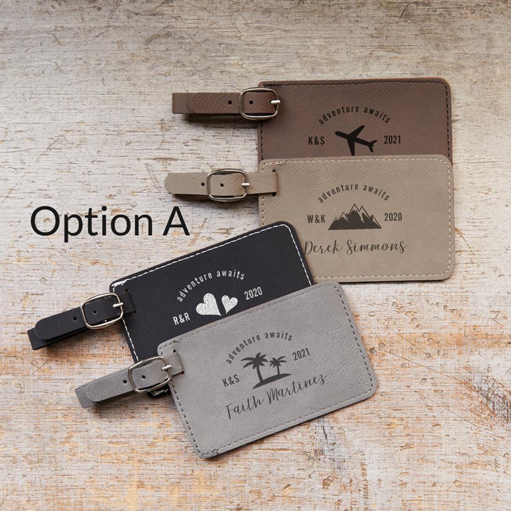 Bulk Personalized Destination Wedding Luggage Tag Favors Option A