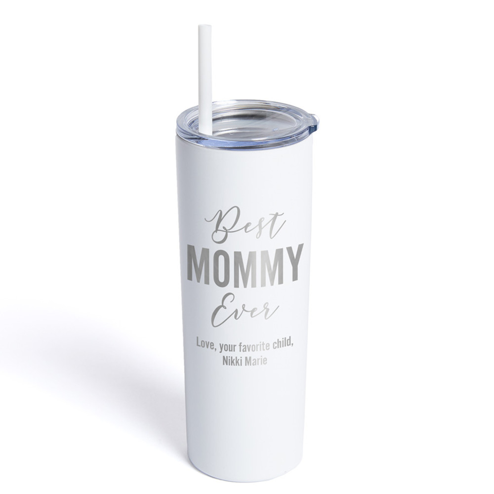 Personalized Mom White Tumbler with Straw