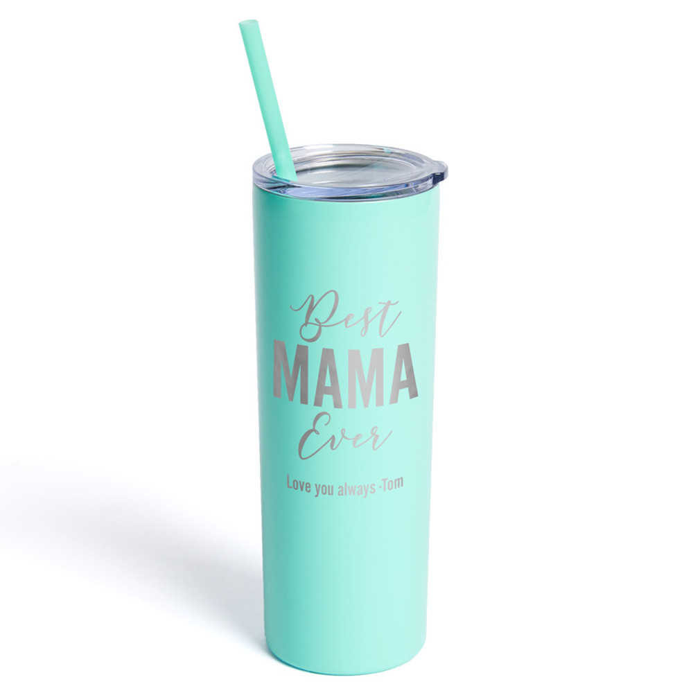 Personalized Mom Teal Tumbler with Straw