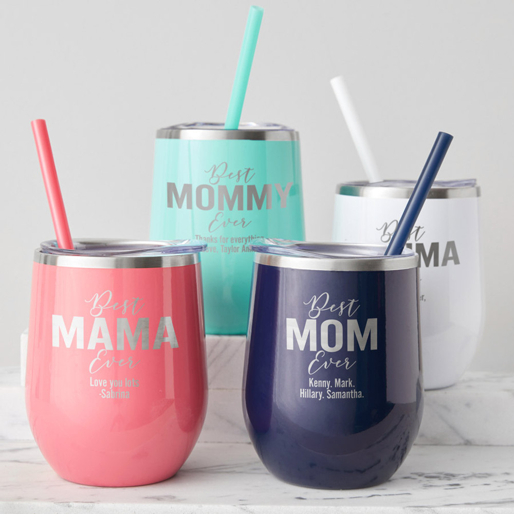Engraved stemless Mom Wine tumbler for mother's day