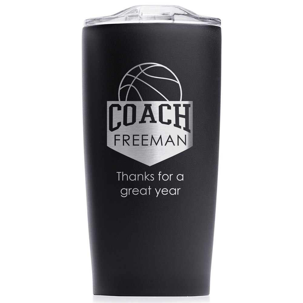 Personalized Basketball Coach Stainless Steel Tumbler Black