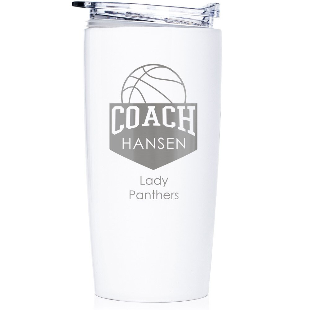 Personalized Basketball Coach Stainless Steel Tumbler White