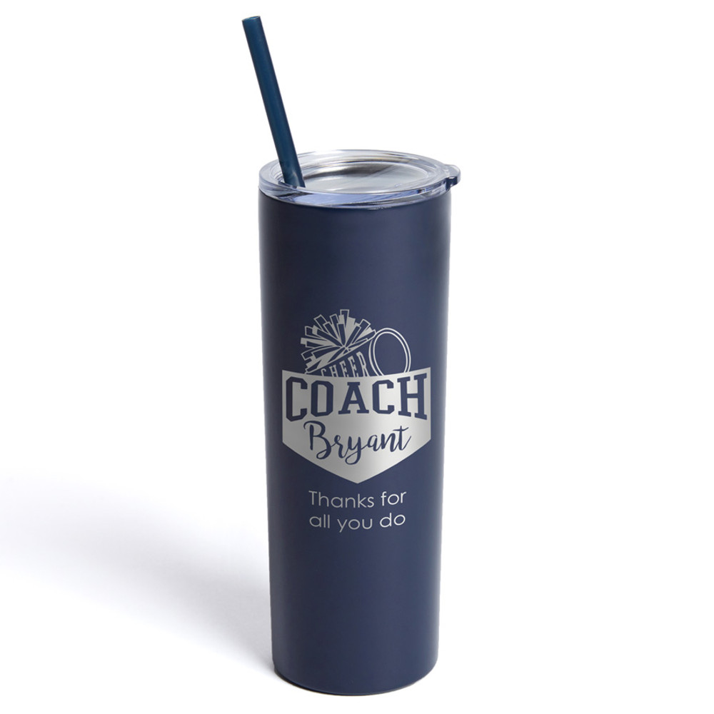 Personalized Cheerleading Coach Skinny Tumbler With Straw Navy