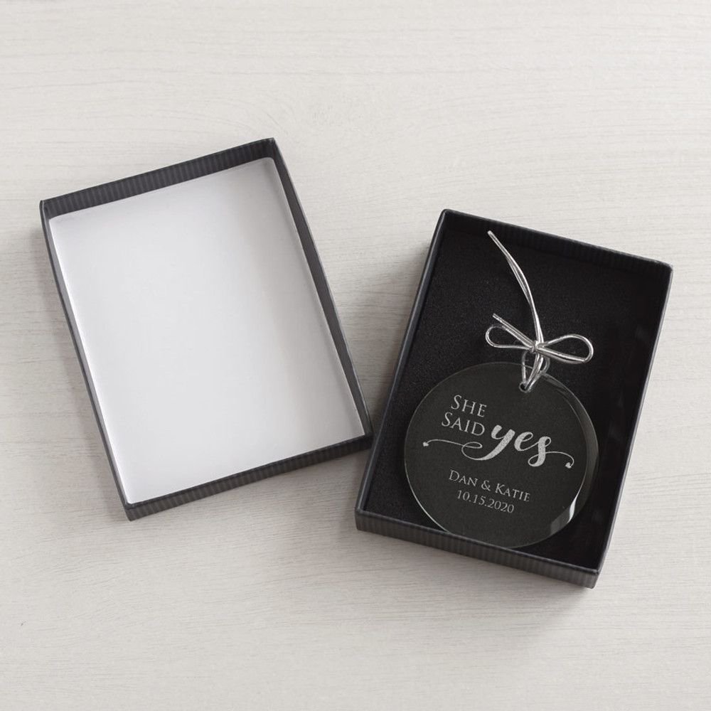Personalized She Said Yes Ornament