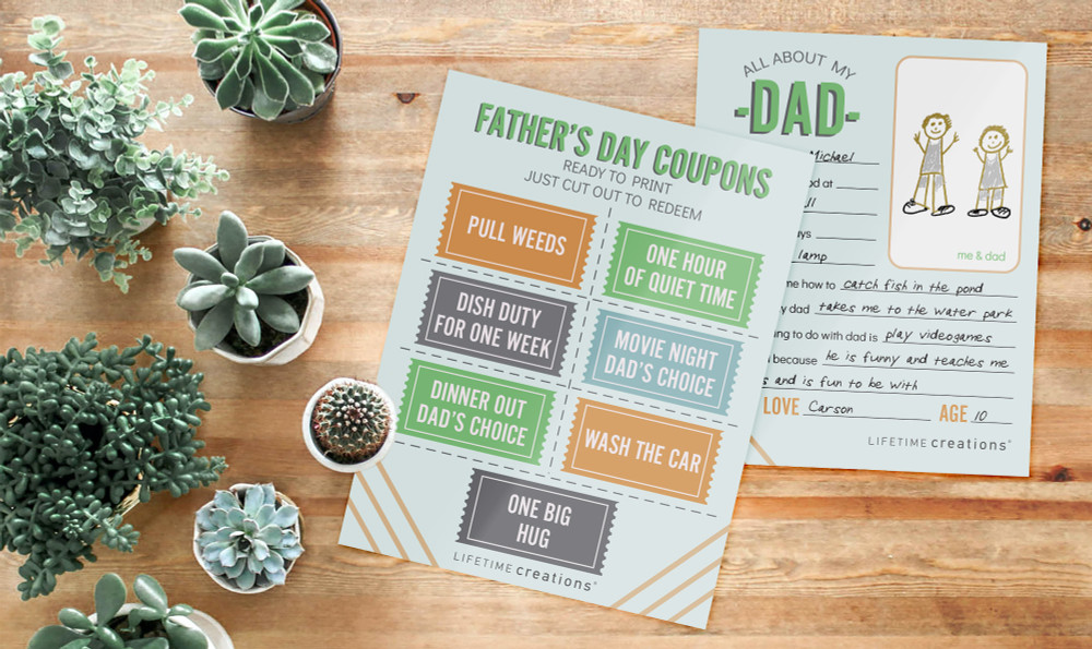 Free, Printable Father's Day Coupons & Questionnaire