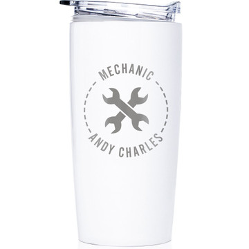 Personalized Mechanic  Stainless Steel Tumbler White
