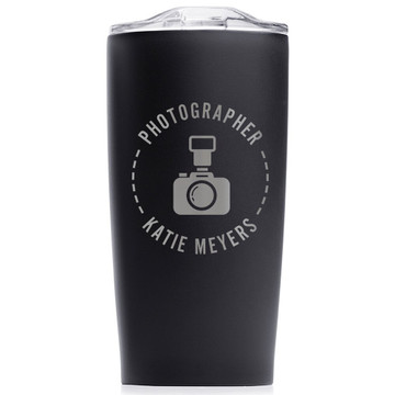 Personalized Photographer Stainless Steel Tumbler Black