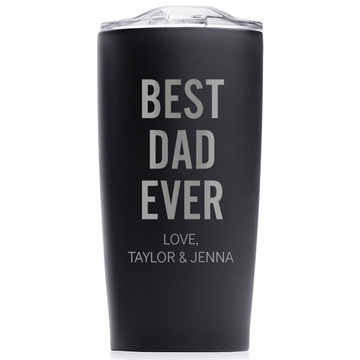 Personalized Father's Day Best Dad Ever Coffee Tumbler Black
