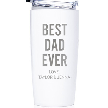 Personalized Father's Day Best Dad Ever Coffee Tumbler White