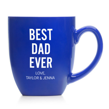 Personalized Father's Day Best Dad Ever Coffee Mug Blue with Kid's Names