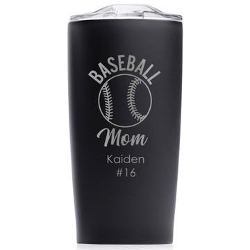 custom baseball mom tumbler gift black