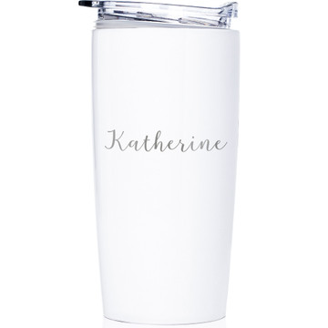 custom tumbler with name engraved white