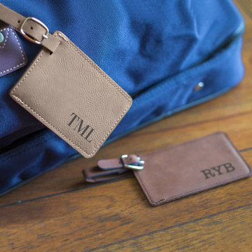 Personalized bag tag with initials