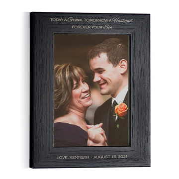 Personalized Mother of Groom Photo Frame (Black) Portrait