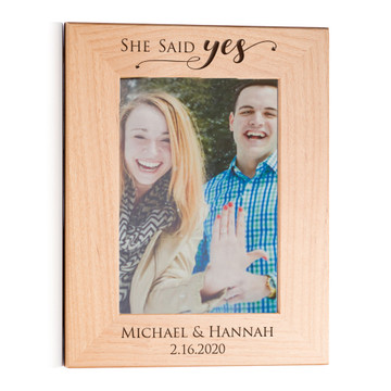 She Said Yes Engagement Picture Frame Gift