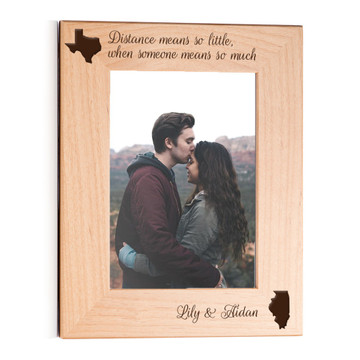 personalized long distance picture frame gift for couples portrait