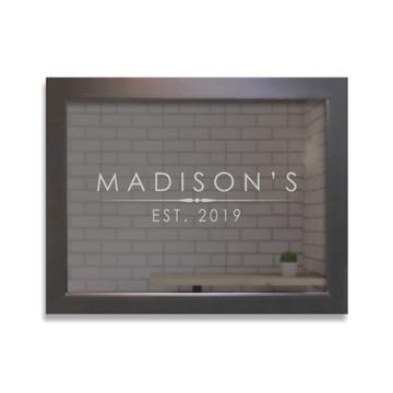 Custom Bar Mirror - Modern Name Black