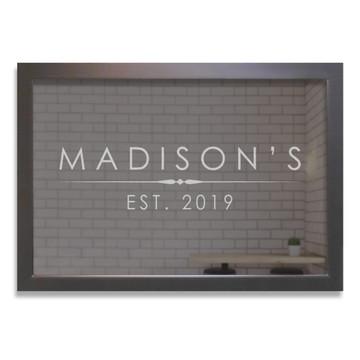 Custom Bar Mirror - Modern Name Black Frame