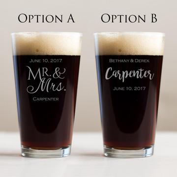 Bulk Custom Engraved Wedding Pint Glass Favor