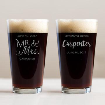 Custom Engraved Wedding Pint Glass Favor