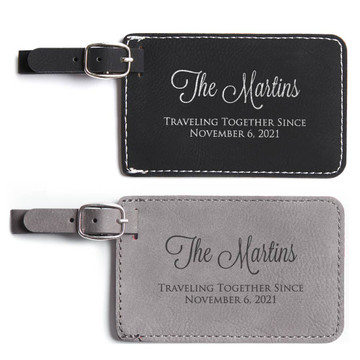Personalized Anniversary Luggage Tags Black and Gray Pair