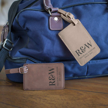 Personalized Initial Traveling Couple Luggage Tags Pair Lifestyle