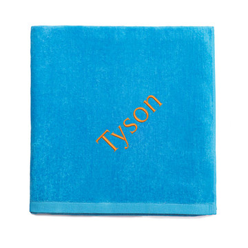 Personalized embroidered aqua blue beach towel
