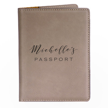 Personalized Light Brown Passport Cover with Name