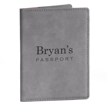 Personalized Gray Passport Cover with Name