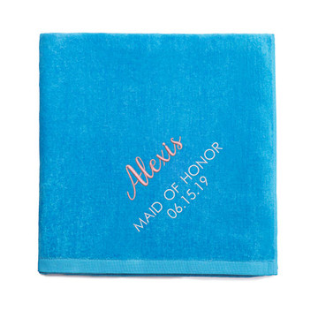 Personalized Bridesmaid embroidered Aqua Blue Beach Towel