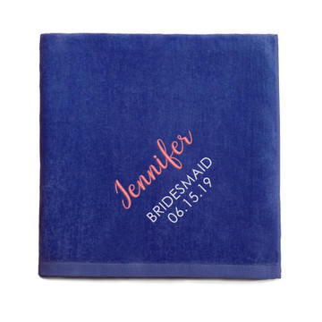 Personalized Bridesmaid embroidered Royal Blue Beach Towel