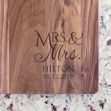 Personalized Mrs. & Mrs. Cutting Board