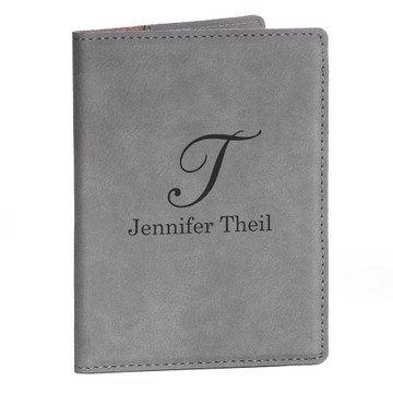 Personalized Gray Passport Cover - Script Initial