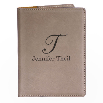 Personalized Light Brown Passport Cover - Script Initial