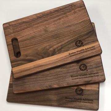 Bulk Custom engraved walnut cutting board with logo