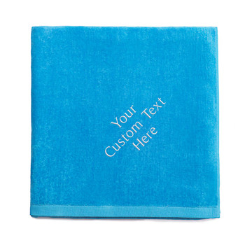 Create your own embroidered aqua blue beach towel